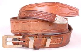 Vtg Hand Tooled Leather Belt-Brown-Metal Buckle-Western Cowboy - $43.00