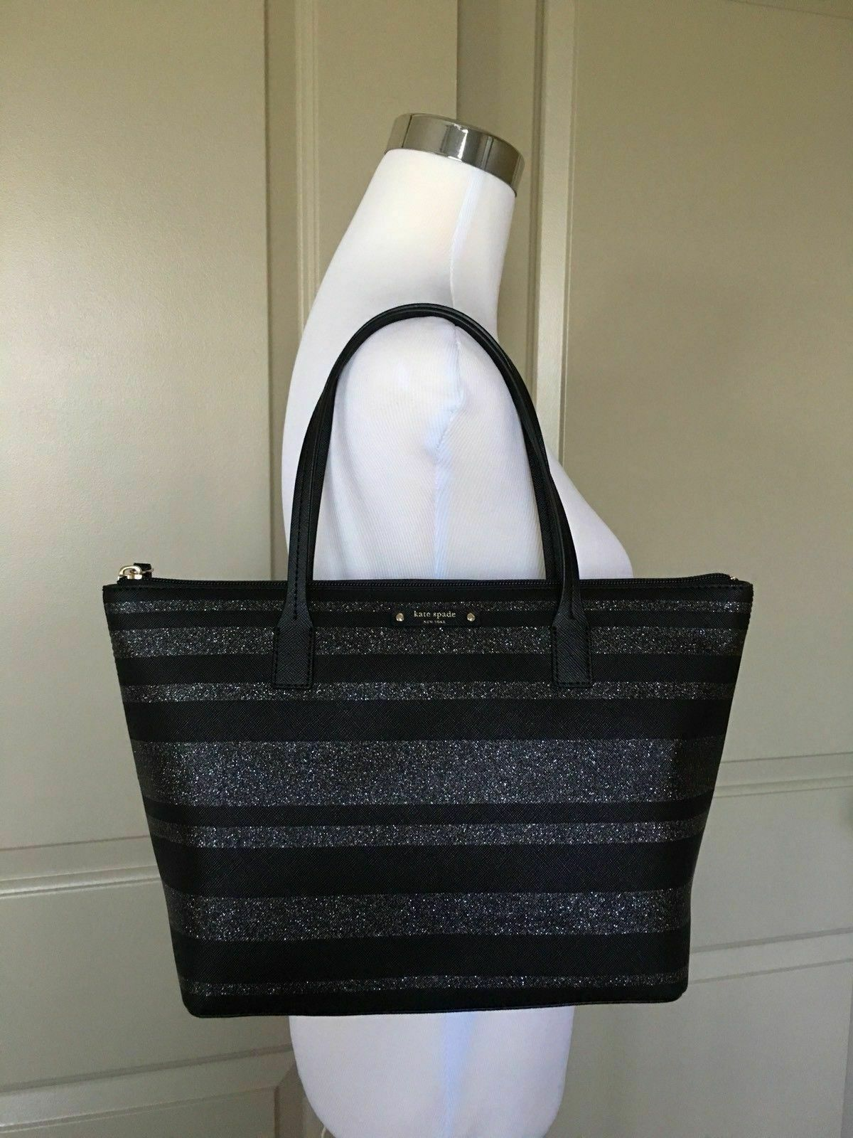 Kate Spade Hani Haven Lane Black Glitter Strap Tote Bag WKRU4787 image 4