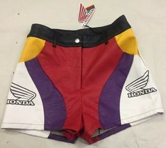 Honda Racing Logo Moto Sport Vegan Leather Color block Shorts S NEW - $34.55
