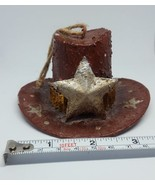 COWBOY country HAT CHRISTMAS tree holiday season ORNAMENT, BROWN, pre-owned - $8.59