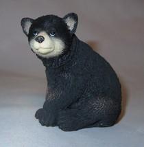 "Black Bear Cub Figurine Sitting Wild Animal Poly Stone 2.75"" High New Wi... - $16.82"