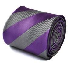 Frederick Thomas cadbury purple and silver barber striped tie FT1741