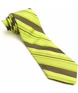 Olive Green Brown Silk Tie | Ted Baker Striped Necktie - $89.10