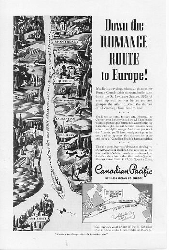 1939 Candian Pacific Travel Vintage Magazine Print Ad
