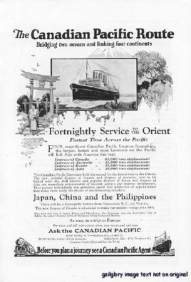 1922 Canadian Pacific Cruise Ship  Vintage Print Ad