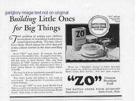 """1928 """"ZO"""" Vitamin Breakfast Food Vintage Print Ad - $2.50"""