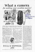 1928 Bell & Howell Filmo 75 Camera Vintage Print Ad - $2.50