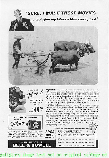 1940 Bell & Howell Filmo 8 Camera Vintage Print Ad