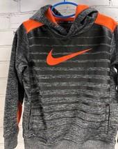 Nike Hoodie Sweatshirt Therma-Fit Boys Pullover Hooded Gray/Orange Size 6 - $27.72