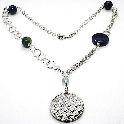 925 Silber Halskette, Achat Blau Gebändert, mit Medaillon Anhänger, 55 CM