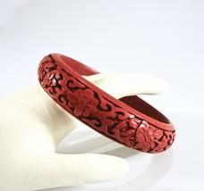 Vintage Cinnabar Bangle, Carved Lacquer, Red Orange, Flowers, Floral, 19... - $36.00