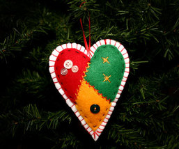 Handcrafted Country Patchwork Heart Christmas Ornament - $10.95