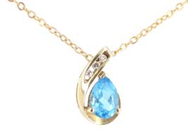 VTG 10K Yellow Gold 1.38ct Swiss Blue Topaz 0.6ct Diamond Pendant Neckla... - €91,78 EUR