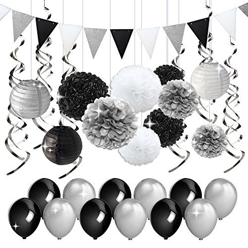 KREATWOW Black and Silver Party Decorations Tissue Paper Pom Poms Paper Lanterns