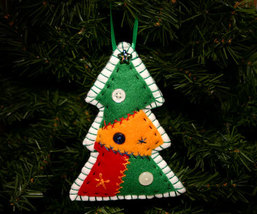 Handcrafted Country Patchwork Christmas Tree Ornament - $8.00