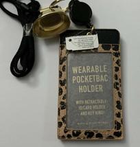 Bath & Body Works Leopard Cheetah ID CARD HOLDER  Gel Keychain Lanyard NWT - $24.70