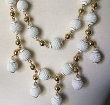 NWT J CREW 100% Authentic White Beaded double strand Necklace Orig $128 - $43.99