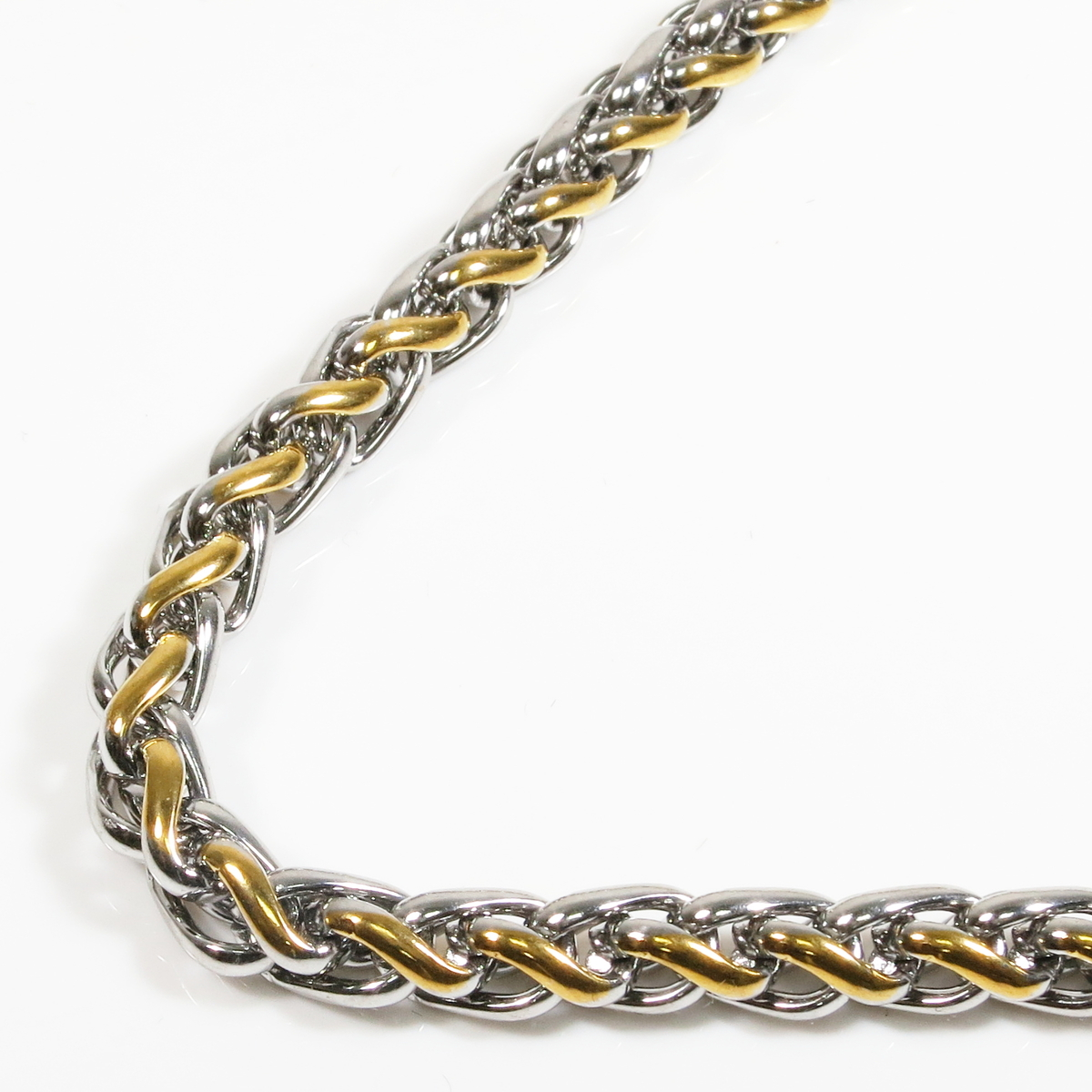 Stainless Steel 2 Tone Silver Gold Color Wheat Chain Men