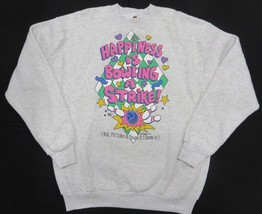 """""""Happiness is Bowling A Strike"""" Graphic Grey Crew Neck Sweatshirt Adult ... - $29.65"""