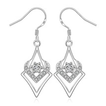 Silver CZ Art Deco Triangle Fashion Dangle Drop Earrings - $8.81
