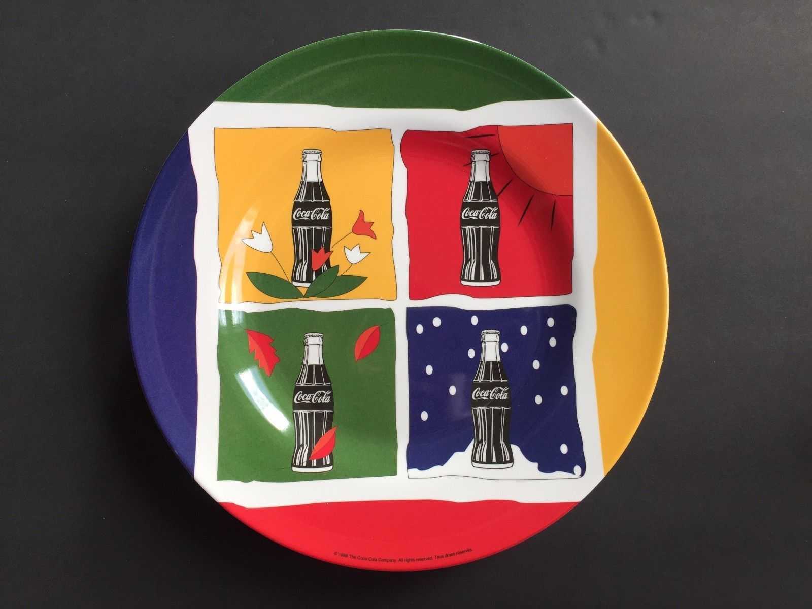 "Primary image for Set of 4 Coca Cola Four Seasons 10"" Dinner Plates Collectible Melamine 1998"