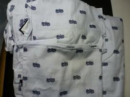 Tommy Hilfiger Blue Oxford Stripe Boston Terrier Sheet Set Twin XL New