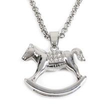 Stainless Steel Wooden Horse Cubic Zirconia Pendant Necklace - $17.00