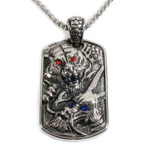 Stainless Steel Dragon Tiger Dog Tag Pendant Necklace - $17.00