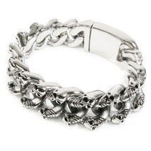 "Stainless Steel Double Skull Curb Link Bracelet 8.5"" - $48.00"