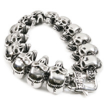 "Stainless Steel Polish Skull Links Bracelet 8.5"" - $45.00"