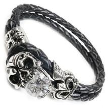 "Stainless Steel Skull Cubic Zirconia Leather Bracelet 8"" - $28.00"