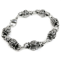 "Stainless Steel Carved Solid Bead Links Bracelet 11mm 9.1"" - $18.00"