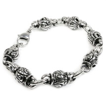 Stainless Steel Carved Solid Bead Links Bracele... - $19.00