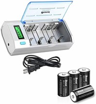 BONAI Universal LCD Battery Charger, Includes 4 Rechargeable D Batteries