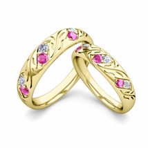 1Ct Round Pink Sapphire & Sim Diamond Couple Engagement Ring Set Yellow Tone  - $120.00