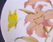 Orange Lily, Yellow Butterfly Japan Wall Plate