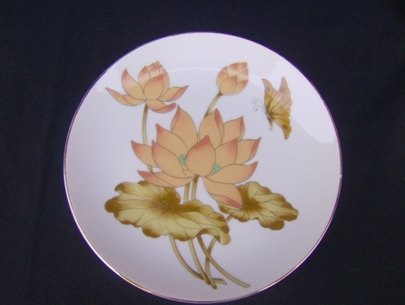 Vintage Orange Lotus and Butterfly Wall Plate