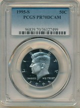1995-S KENNEDY PROOF HALF DOLLAR-STUNNING! PCGS GRADED PR70 DCAM-SHIPS F... - $33.95