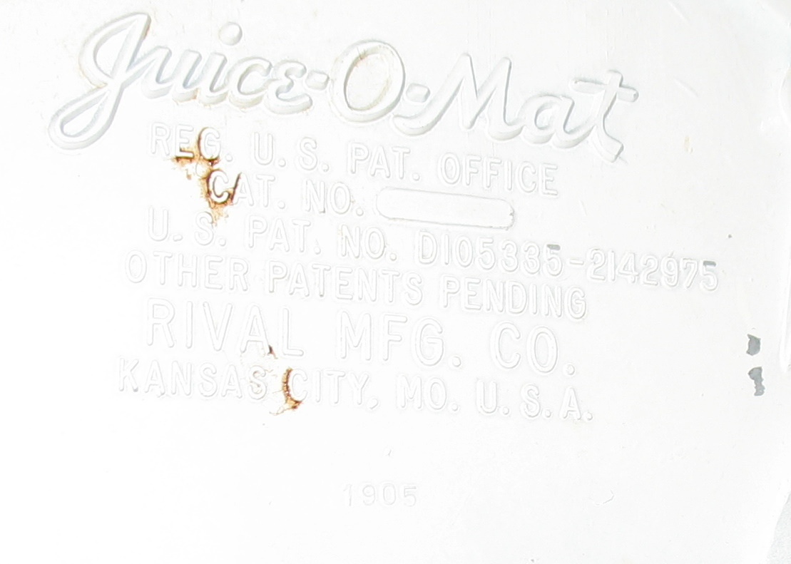Juice O Mat Rival 1905 No Cat No Vintage Juicers