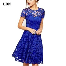 5XL Plus Size Dress Fashion Women Elegant Sweet Hallow Out Lace Dress Sexy Party - $14.34+