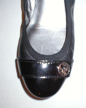 New Womens Authentic Coach Flats Leather 6 Shoes Black Gold Logo Patent Ballet  - $188.00