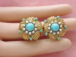 VINTAGE .60ctw DIAMOND TURQUOISE 18K GOLD ROPE FLOWER BUTTON CLIP EARRIN... - $2,454.21