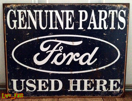 Ford Tin Metal Sign Genuine Parts Used Here Vintage Style Retro Garage Art - $18.80