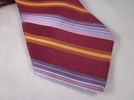 ROBERT TALBOTT Silk Necktie Burgundy Blue Yellow Brown LUXURY Neck Tie - $37.36