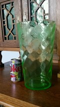 "HUGE 12"" BLOWN URANIUM GREEN GLASS VASE - SWIRL, ETCHED WITH GRAPES - $100.00"