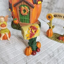 Fall Fairy Garden Set, Pumpkin Fairy House, Tiny Gnome Hut, Autumn Fairy Decor image 7