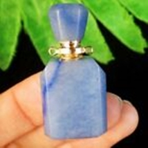 Natural Blue Aventurine Charm Essential Oil Diffuser Bottle Pendant W790... - $18.00