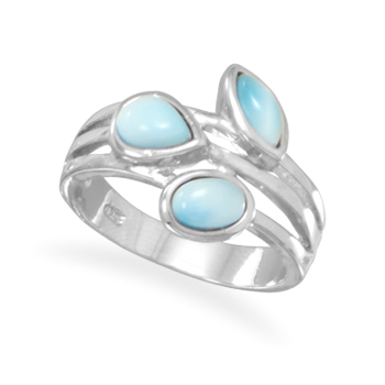 Multishaped Genuine Larimar Ring