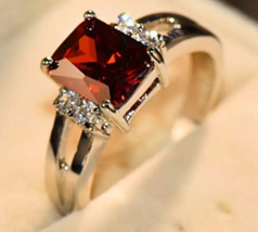 Luxury Red Stone Ring Fashion 925 Silver Wedding Jewelry Crystal for Women  - $18.37