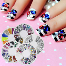 3D Nail Art Rhinestones Glitters Acrylic Tips Decoration Manicure Wheel - $2.99